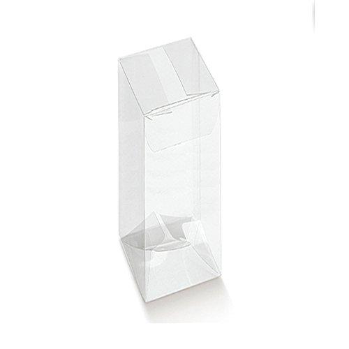 Subito disponible 50piezas caja pvc transparente automática 4.5x 4.5x 22cm portaconfetti para BOMBONIERA
