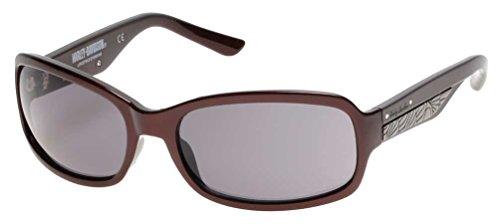 Harley-Davidson Women's Metal Plaque Sunglasses, Burgundy Frame & Smoke Lens