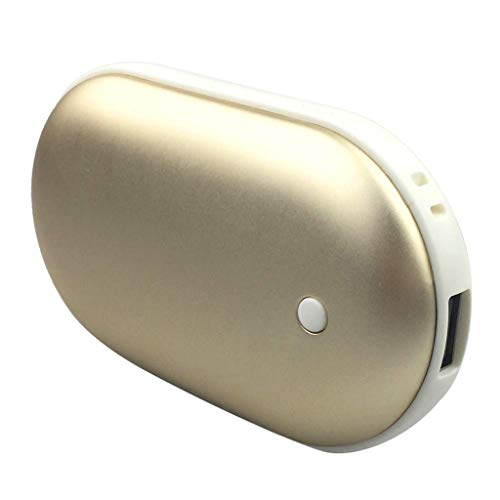 5V Rechargeable No Water Hand Warmer Portable Warmers Electric Pocket Hand Warmer Power Bank Instant Heating (Gold)