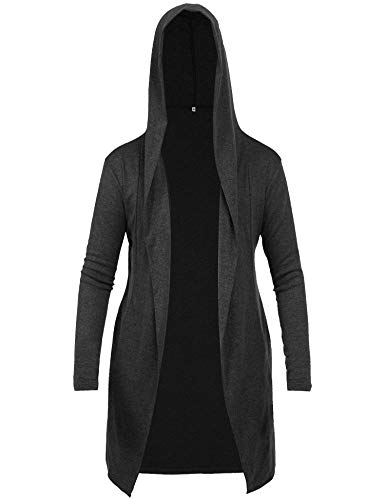 RAGEMALL Mens Long Cardigan Open Front Draped Lightweight Hooded Sweater with Pockets Black_XL