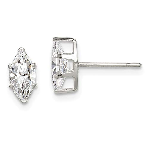 Sterling Silver 8x4 Marquise Snap Set CZ Stud ()