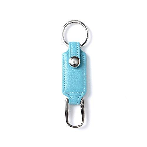 Leather Valet Keychain - Valet Key Chain - Full Grain Leather - Teal (blue)