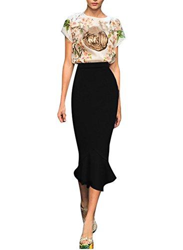 Wear Black Pencil Skirt - Viwenni Women's Vintage High Waist Wear To Work Bodycon Mermaid Pencil Skirt, Black-1, XX-Large