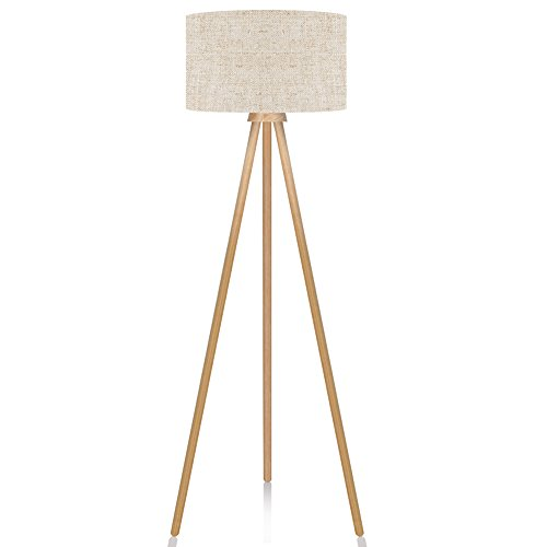 - LEPOWER Wood Tripod Floor Lamp, Modern Design Nature Rubber Wood Standing Light, with E26 Lamp Base Reading Light for Living Room, Bedroom, Study Room and Office