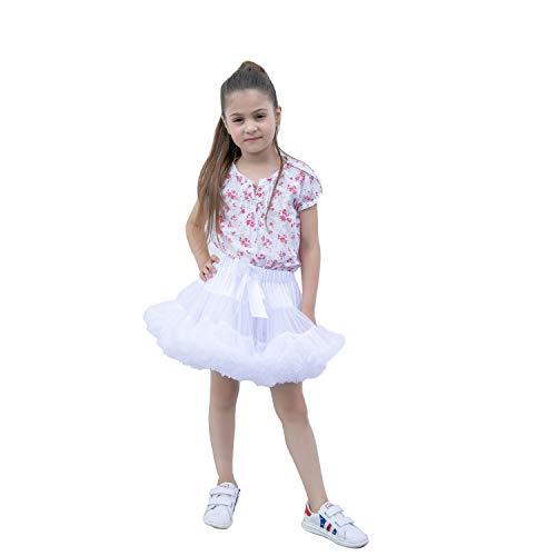 kephy Baby Extra Fluffy Princess Tutu Skirt Little Girl Pleated Tulle Skirt Birthday Dance Pettiskirt (0-10T) m White -