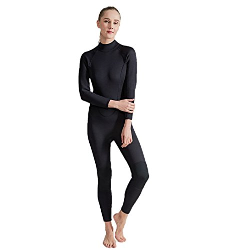 SailBee Women Full Body One Piece Long Sleeve 2MM Neoprene Diving Wetsuit Top Warm Protection (Black, - Tri Sleeve Long Suit