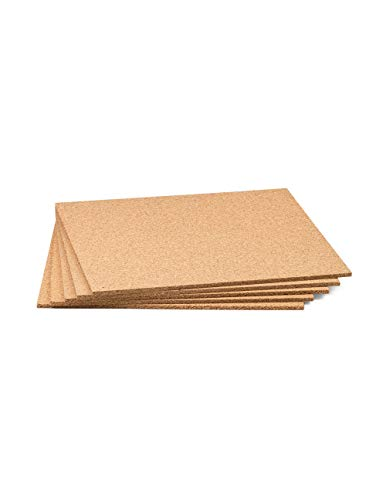 """Cork Sheet With Adhesive 12"""" X 12"""" X 1/2"""" - 5 Pack"""