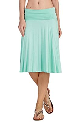 12 Ami Solid Basic Fold-Over Stretch Midi Skirt - Made in USA