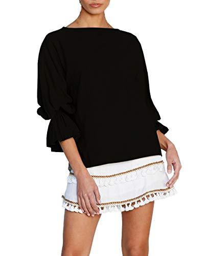 T Tinta A shirts Donne Unita Tops Autunno Jumper Bluse Tees Collo Rotondo Primavera E Moda Nero Campana Maglietta Blouse Casual Maniche a8OxZ1