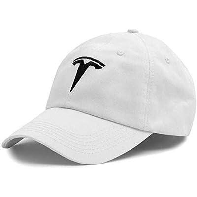JDclubs Tesla Logo Embroidered Adjustable Baseball Caps for Men and Women Hat Travel Cap Car Racing Motor Hat (White+Black): Automotive