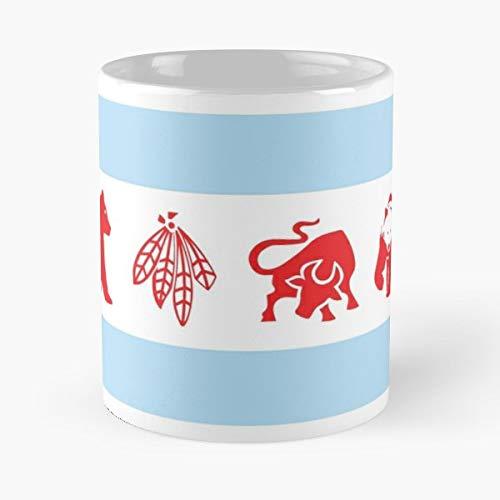 Chicago Flag Cubs Bears Bulls - Best Gift Ceramic Coffee Mugs 11 Oz