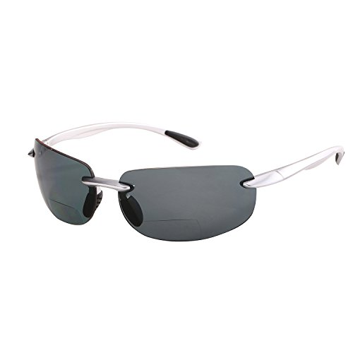 """Lovin Maui"" Polarized Bifocal Reading Sunglasses - Outdoor Activity Readers (Silver, 2.5)"