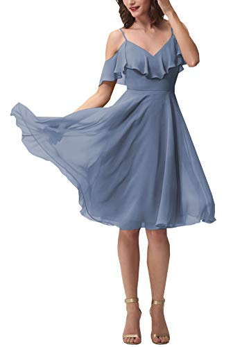 Now and Forever Short A-Line V Neck Ruffled Chiffon Prom Bridesmaid Dresses for Women Formal Gown (Dusty ()