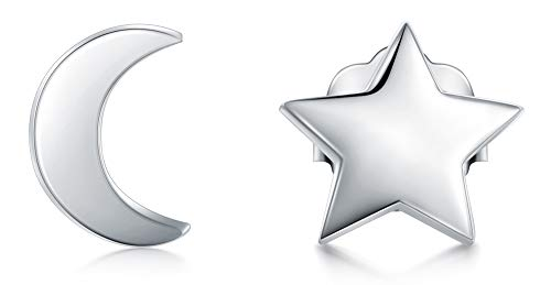 925 Sterling Silver Stud Earrings, BoRuo Star & Crescent Moon Post Earrings Comfort Fit Platinum Earrings