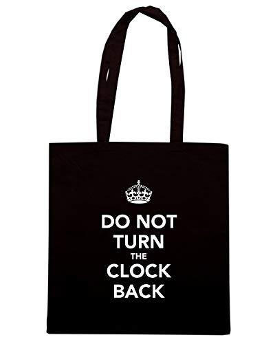 Borsa Shopper Nera TKC3628 DO NOT TURN THE CLOCK BACK