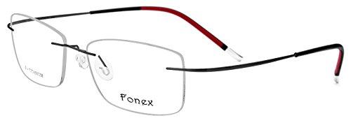 FONEX 100% β Titanium Men Rimless Square Glasses Frame Screwless Eyewear 9203 (black, - Screwless Eyewear