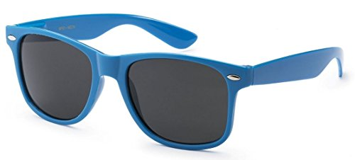 Sunglasses Classic 80's Vintage Style Design (Neon - Sunglasses Blue Frame
