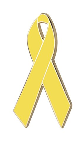 Hard Enamel Awareness Ribbon Lapel Pin (Yellow)