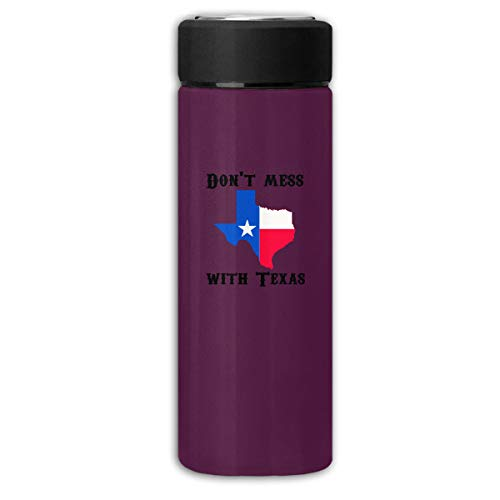 Don't Mess with Texas State Longhorn Star Business Scrub Thermos Cup Stainless Steel Vacuum Thermos Flask Keeps 18 Hours Hot 13 Oz - Longhorns Texas Stainless Steel Thermos