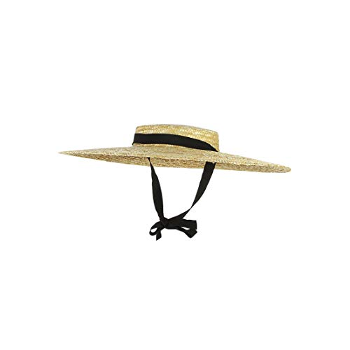 Women 12Cm-15Cm Brim Black Ribbon Beach Cap Boater Flat Top Sun Hat,Original Color,12Cm Brim]()