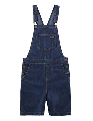 (SOLOCOTE Girls Denim Overalls with Adjustable Belt Jumpers BF Jeans Jumpsuit Suspender Shortall Bib Pocket Dark Blue,9-10Y)
