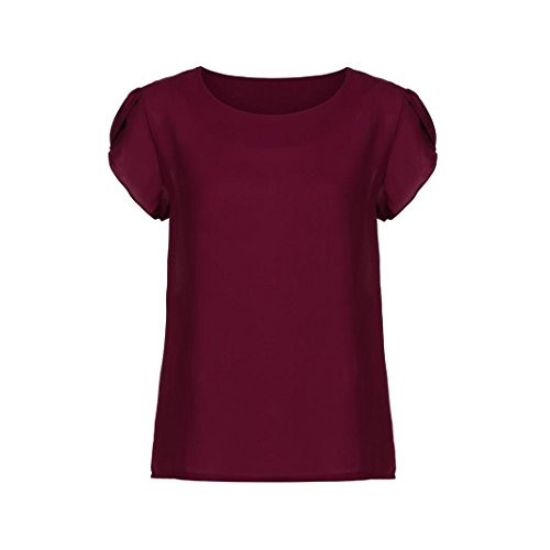 MODOQO Women Summer Short Sleeve Blouse O Neck Chiffon Solid Tops Clothes T Shirt ()
