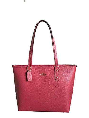 COACH Women's CITY ZIP TOTE IN CROSSGRAIN LEATHER STRAWBERRY (COACH F58846) (Coach Duffle Shoulder Bag In Glovetanned Leather)