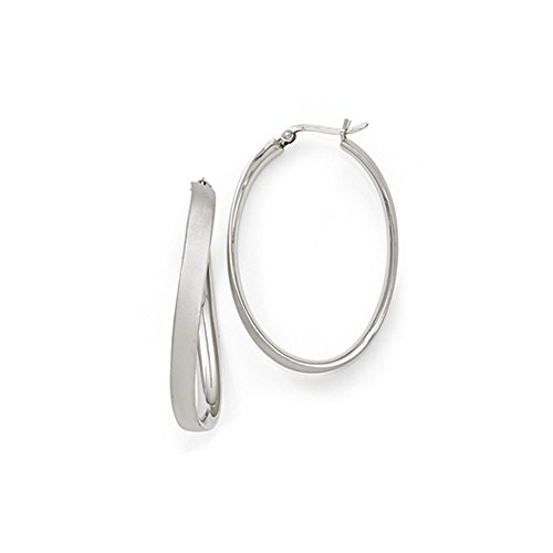 - 5mm Satin Wavy Oval Hoop Earrings in Sterling Silver, 52mm (2 in)