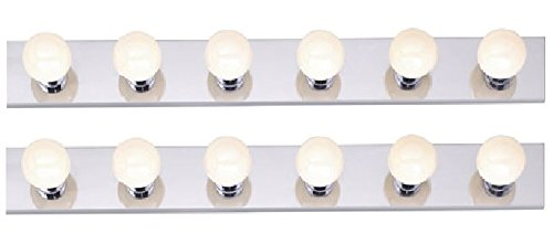 Six Light Vanity Strip, Polished Chrome, 36-Inch (Pack of 2 Fixtures)