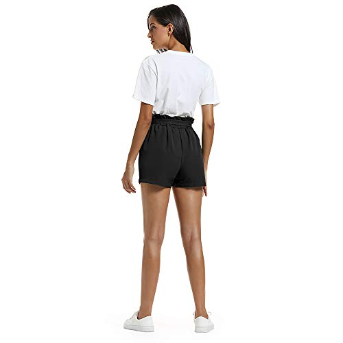 NEWFANGLE Women\'s Casual Paper Bag Shorts Elastic Tie Waist with Pocket Comfy Summer Shorts for Women,Black,XXL