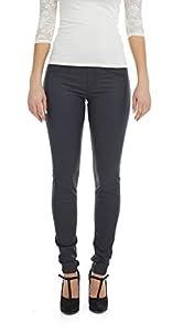 Suko Jeans Women's Wax Coated Denim Pants - Pull On Leggings - Faux Leather