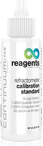 Continuum Reagents Refractometer Calibration Standard, provides an accurate reference for the calibration of seawater refractometers, hydrometers and other density measuring equipment, 60ml
