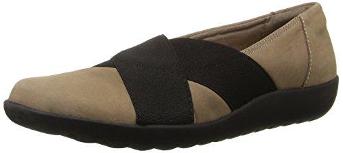 Clarks Women's Medora Jem Slip-on Loafer, Black Leather, 6 M US Mushroom Nubuck