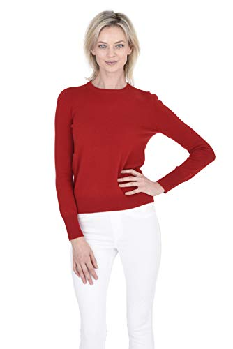 Cashmeren Women's 100% Pure Cashmere Classic Knit Soft Long Sleeve Crew Neck Pullover Sweater (Red, Small)