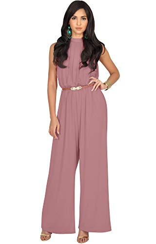 KOH KOH Womens Sexy Sleeveless Halter-Neck Wide Leg Pants Cocktail Overall Long Work Day Suit Pant Suits Pantsuit Playsuit Jumpsuit Jumpsuits Romper Rompers, Cinnamon Rose Pink M 8-10