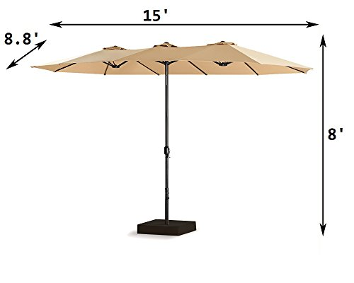 PATIO TREE 15 Ft Outdoor Umbrella Double-Sided Market Patio Umbrella Crank, 100% Polyester, Base Included (Beige)