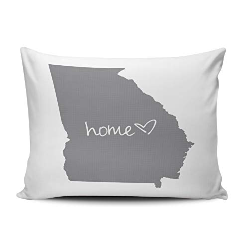 Fanaing Bedroom Custom Decor Home Georgia Pillowcase Soft Zippered Grey and White Throw Pillow Cover Cushion Case Fashion Design One Sided Printed Queen 20X30 Inches