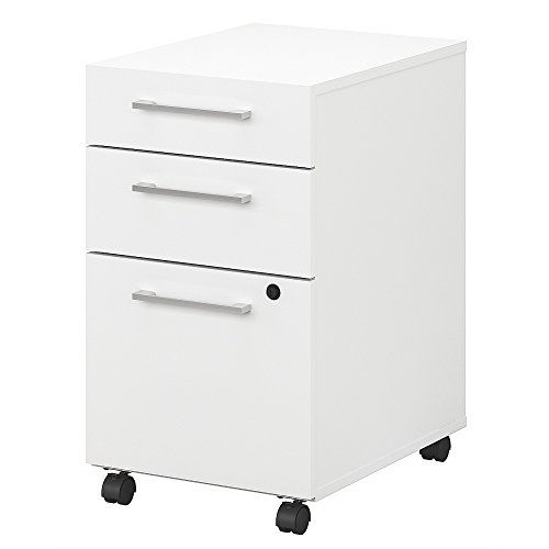 Bush Business Furniture 400 Series 3 Drawer Mobile File Cabinet in White