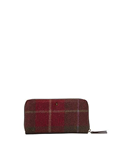 Joules Fairford Tweed Femme Zip Tondo Borsa S / s 19 Rouge À Carreaux