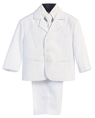 5 Piece White First Communion or Christening Suit with Shirt, Vest, and Tie - Size 5 -