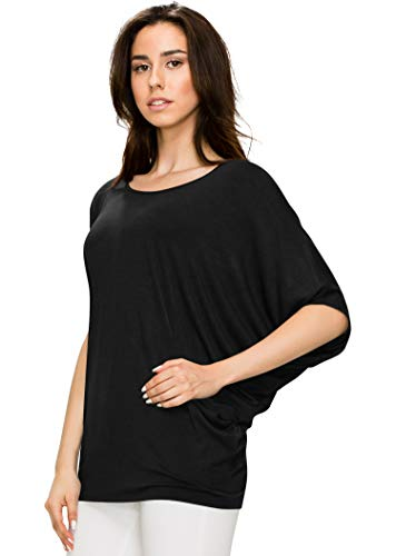 WT1073 Womens Scoop Neck Half Sleeve Batwing Dolman Top S BLACK