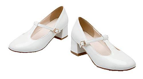 Couleur Unie Aalardom Fermeture Tsfdh004156 Blanc Verni D'orteil Boucle Légeres Chaussures Femme qHqnBpOE