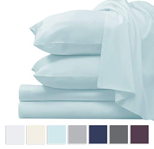 High Quality Linen Yarns - Pizuna 1000 Thread Count Cotton Sheets Queen, 100% Long Staple Cotton Sheets, Luxury Sateen Cotton Sheets Deep Pockets fit Upto 16 inch (Baby Blue 100% Cotton 1000 Count Bed Sheets Queen)