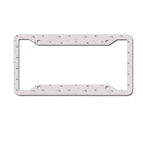 ASUIframeNJK Cute Bunny Girls on Swing Hula Hoop Scooter Ballerina Teen Stylish Artsy License Plate Frame Designed Decorative Plate Auto Tag 12 x 6 inch-Made of Aluminum 4 Holes