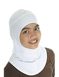 Capsters Runner Kids Sports Hijab Cap White No Pin Girls 9 - 12 Years