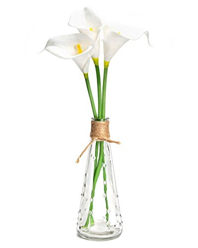 Mkono Artificial Calla Lily with Decorative Vase Set 3Pcs Faux Silk Calla Lily Flowers Floral Arrangements for Home Kitchen Office Wedding Decor, White by Mkono