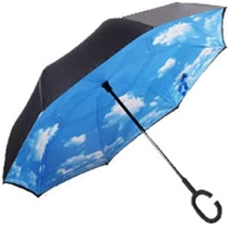 Inverted Umbrella Creative C Hook Handle Reverse Folding Quality Brand Bright Pattern Double Layer Windproof Rainy Sunny Umbrella Car Men Women