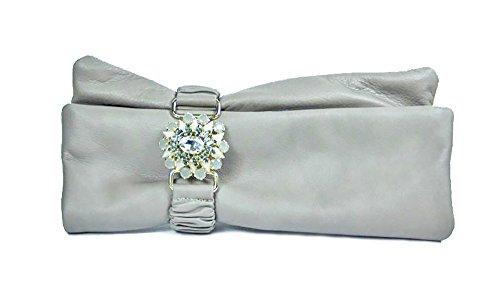 Borse donna Collezione Argento Antico by Laino Industry - Borsa in pelle con accessorio gioiello, colore ghiaccio