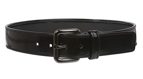Ladies Piping Edged Patent Leather High Waist Fashion Belt Size: XS - 28 Color: (Black Patent Leather Belt)