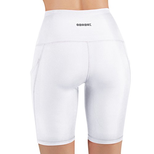 ODODOS High Waist Out Pocket Yoga Shots Tummy Control Workout Running 4 Way Stretch Yoga Shots, White, X-Large by ODODOS (Image #4)